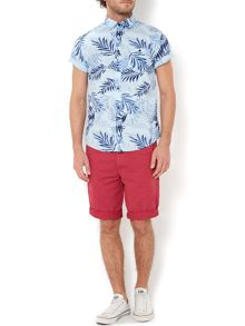 Hopkins leaf print short sleeved shirt