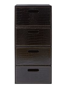 Biba Black mock croc storage unit