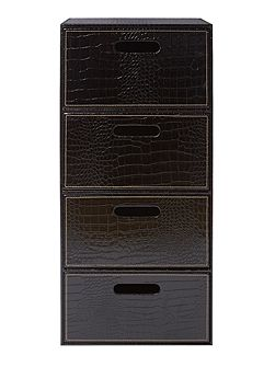 Black mock croc storage unit