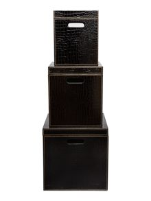 Biba Set of 3 black mock croc storage boxes