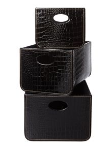 Biba Set of 3 black mock croc storage trays
