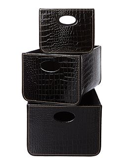 Set of 3 black mock croc storage trays