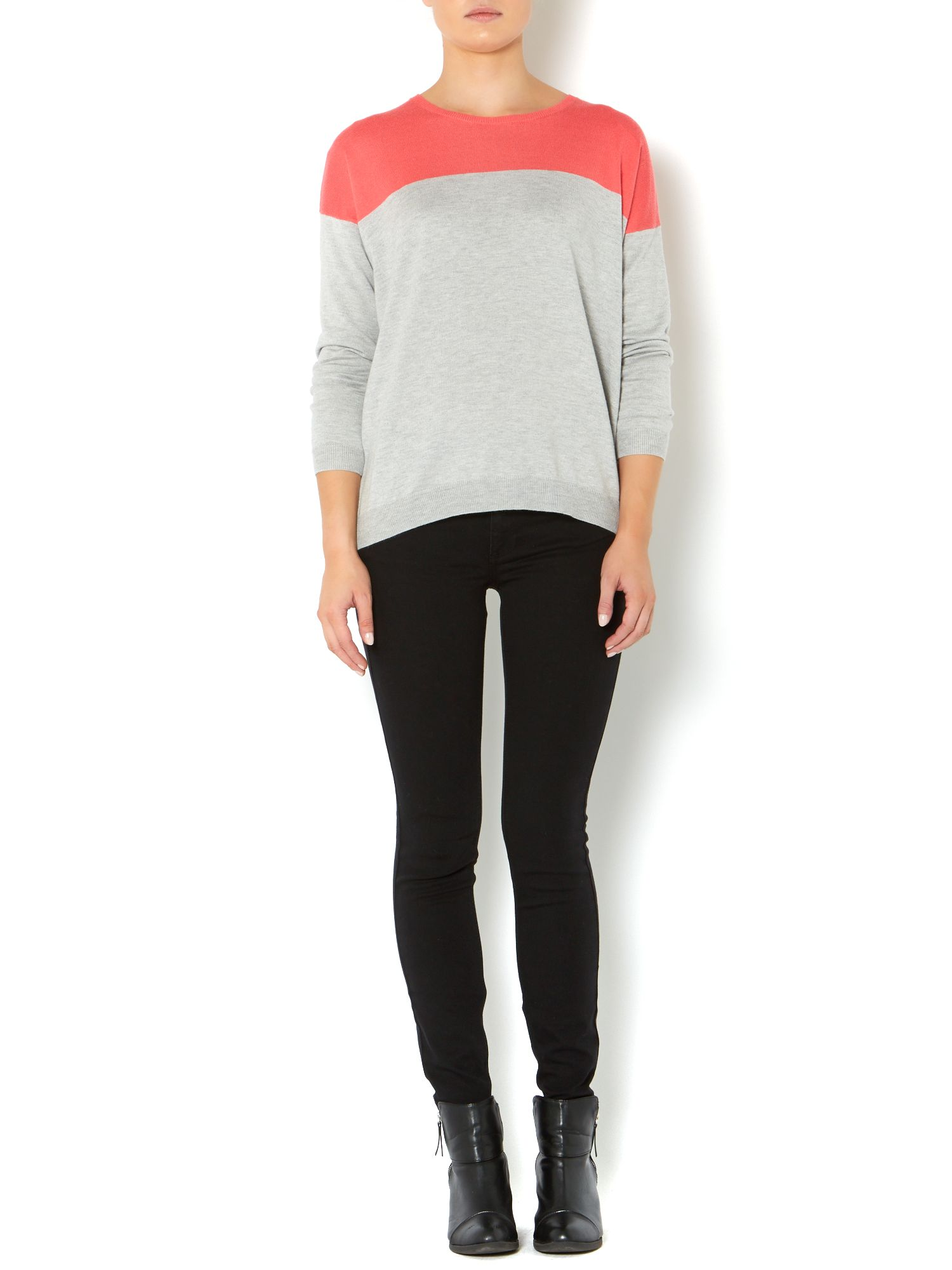 Knitted colour block jumper