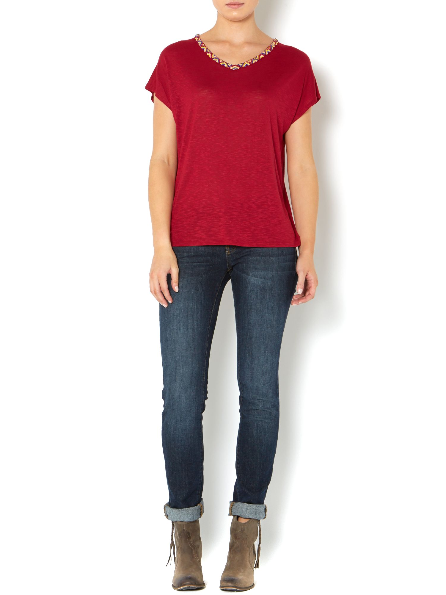 Apache embellished neck trim tee