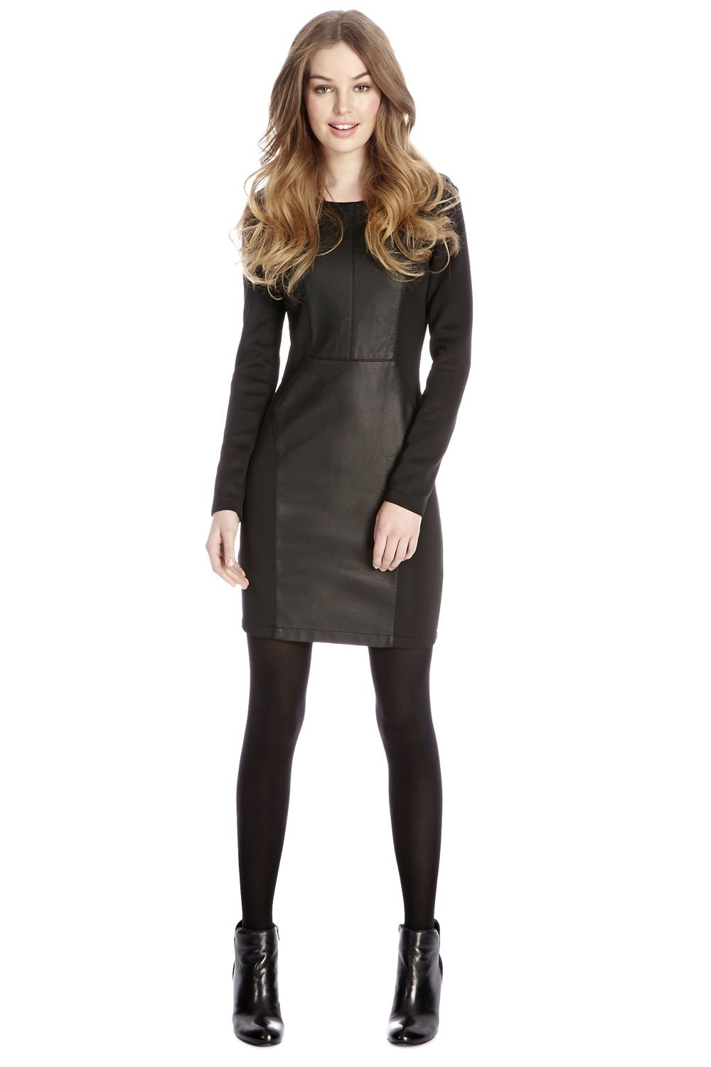 Long sleeve PU and ponte dress