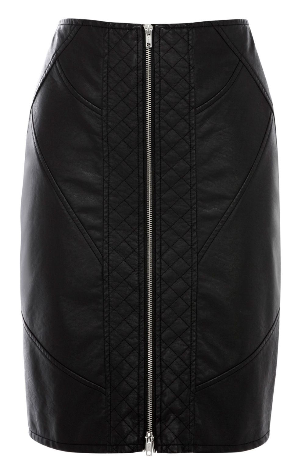 Faux leather quilted zip pencil skirt