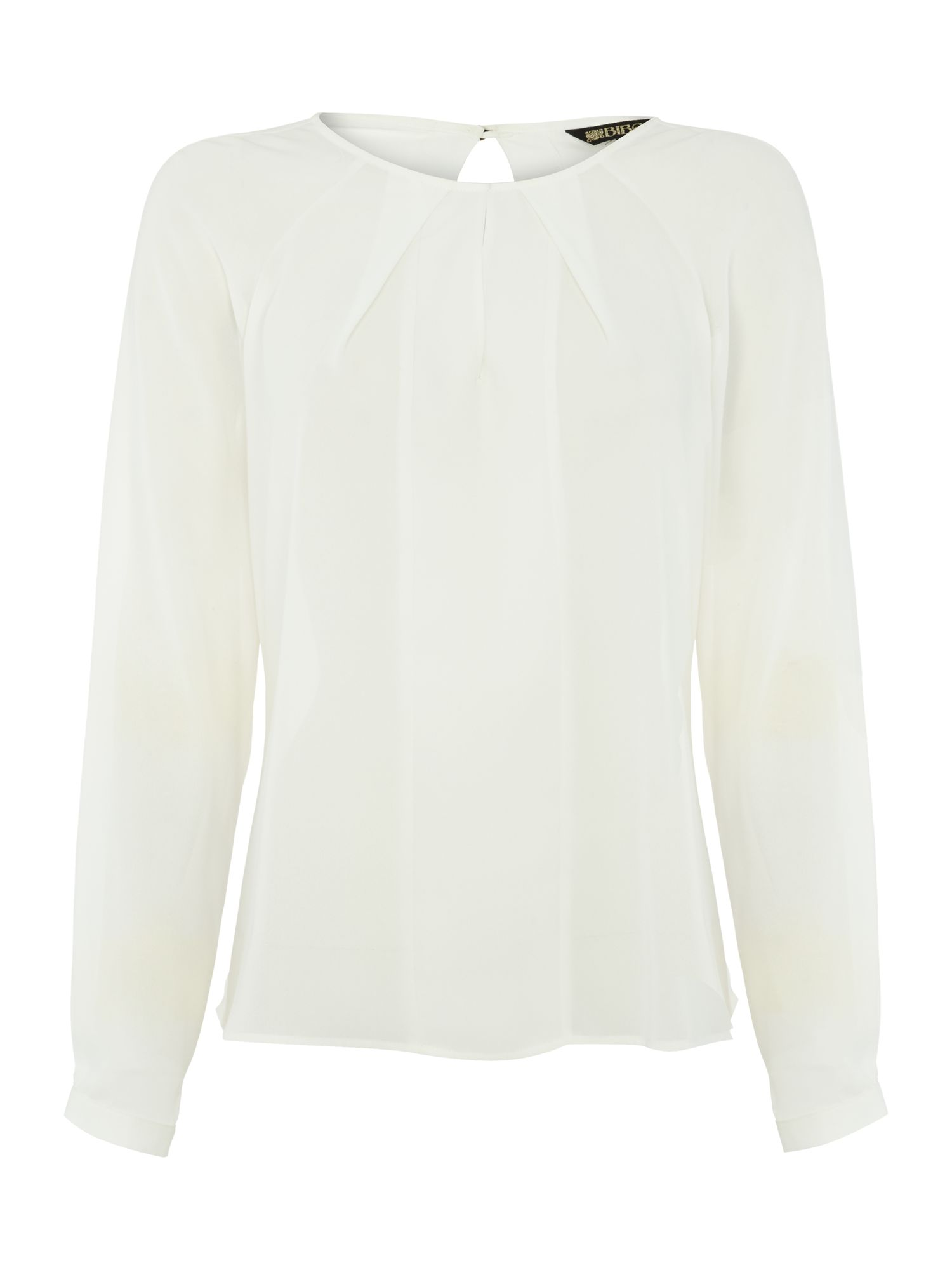 Plain draped blouse with metal logo buttons