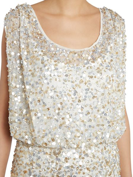 JS Collections Sequin blousson gown