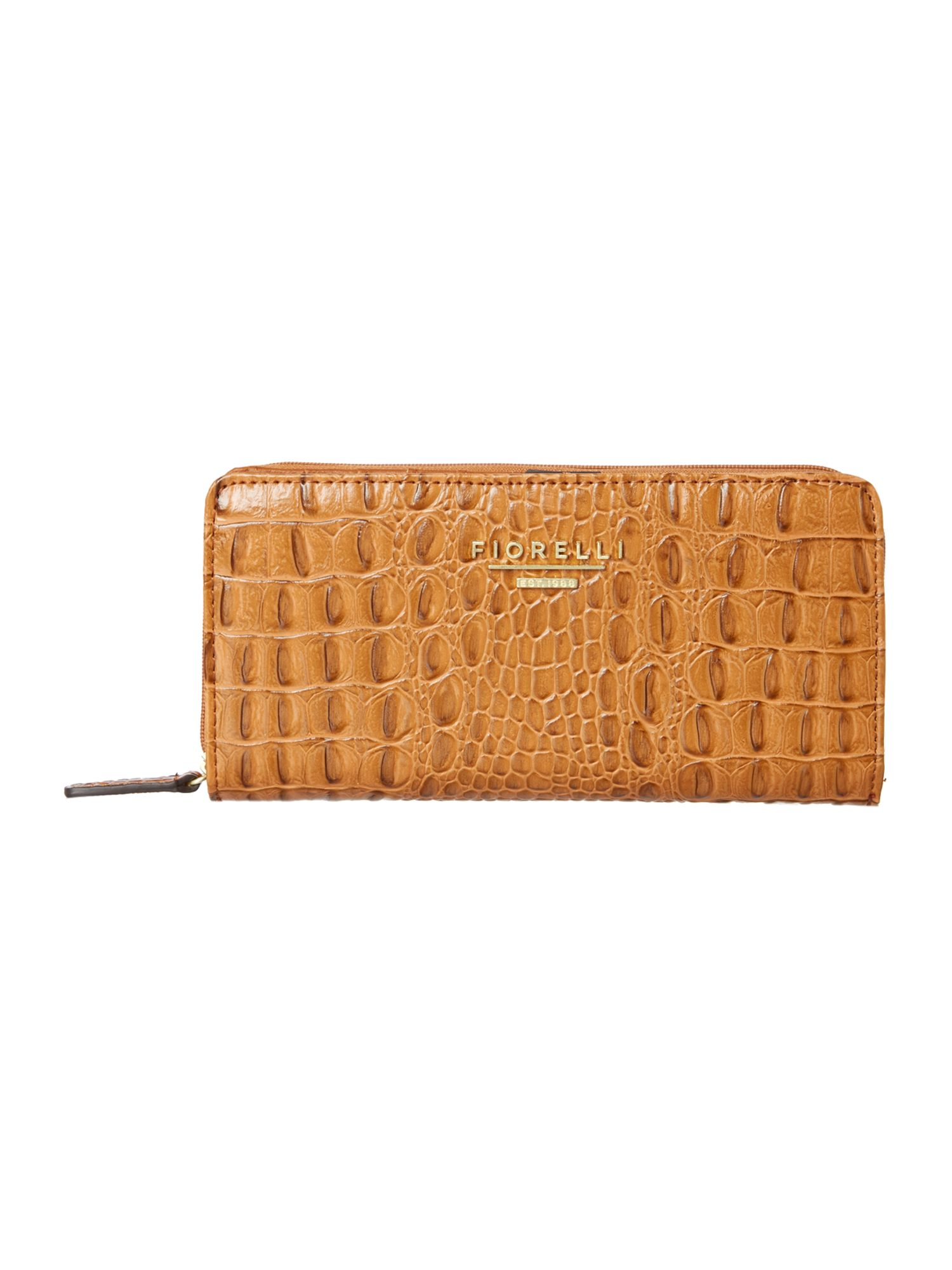 Vera large tan croc zip around purse