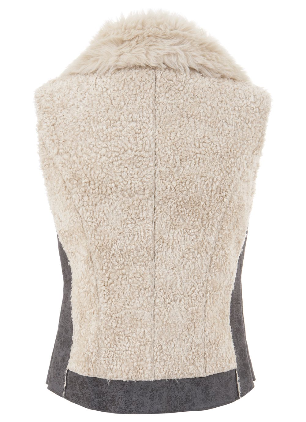 Granite & cream mix faux fur gilet