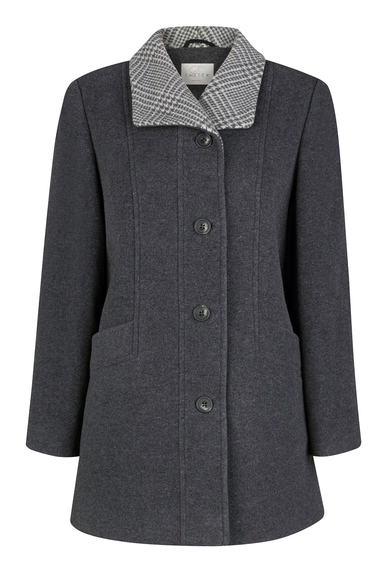 Melange tweed trimmed coat