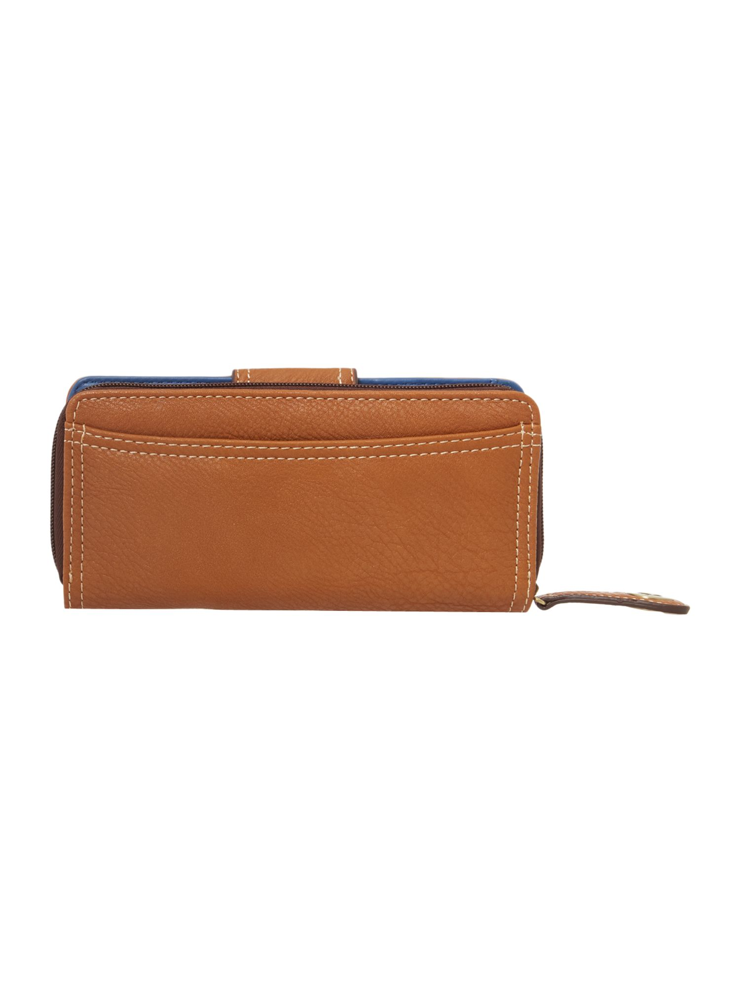 Amber large tan zip around purse