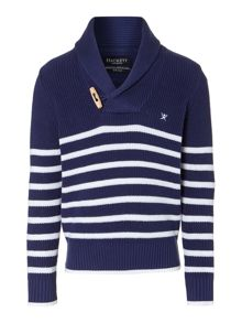 Boy`s striped shawl neck jumper