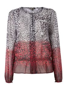 Printed ombre peasant blouse