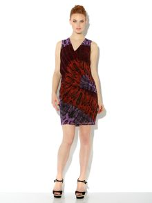 Snake printed chiffon drape dress