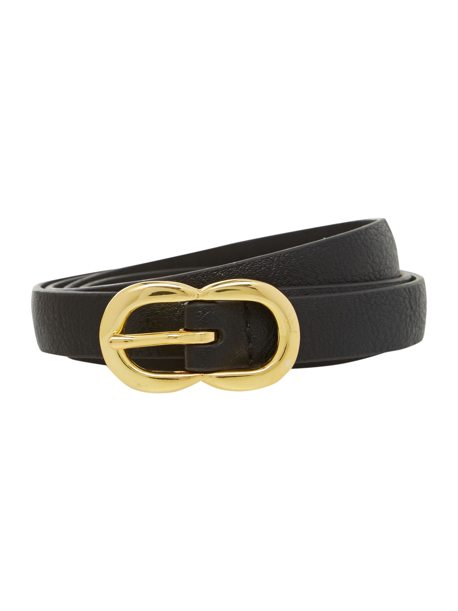 Black double buckle small leather belt