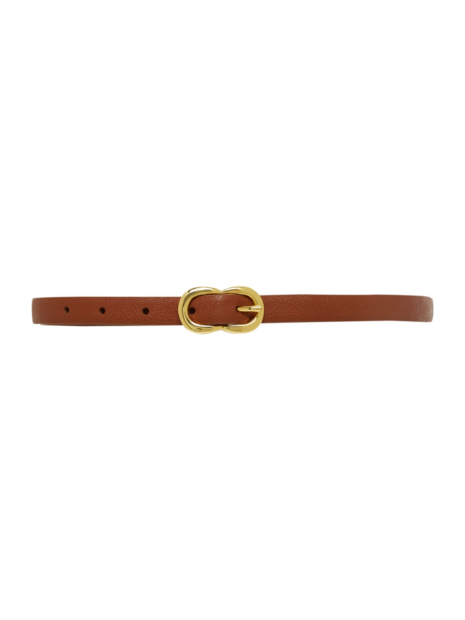 Tan double buckle leather belt