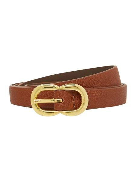 Stephen Collins Tan double buckle leather belt