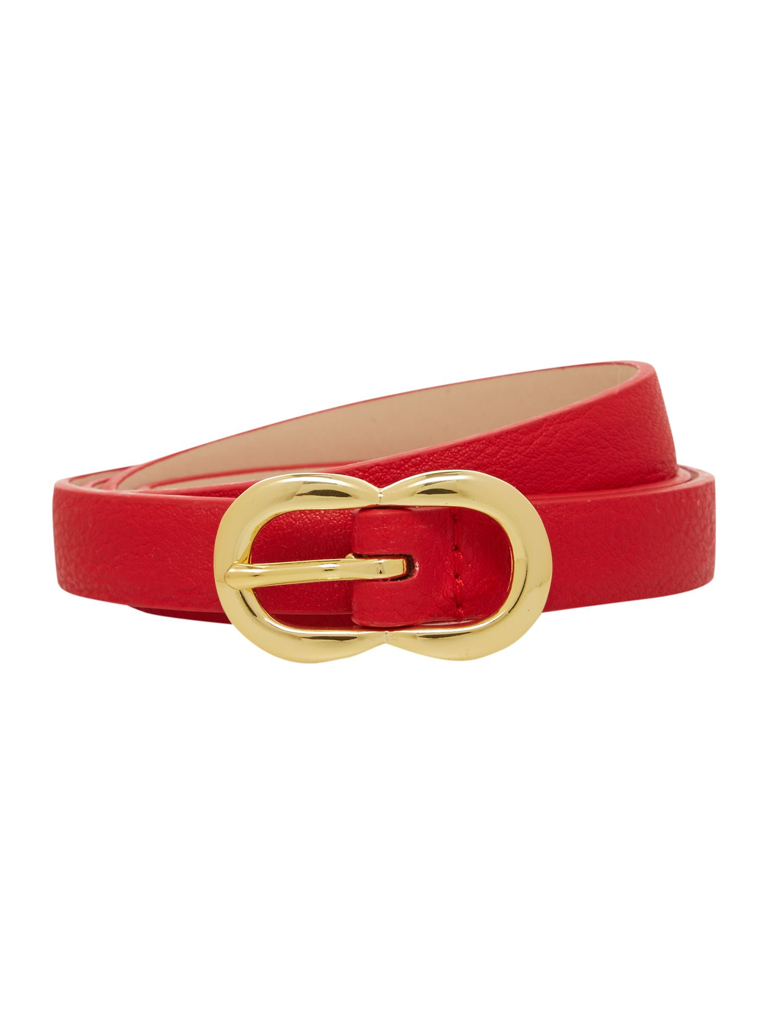Red double buckle leather belt