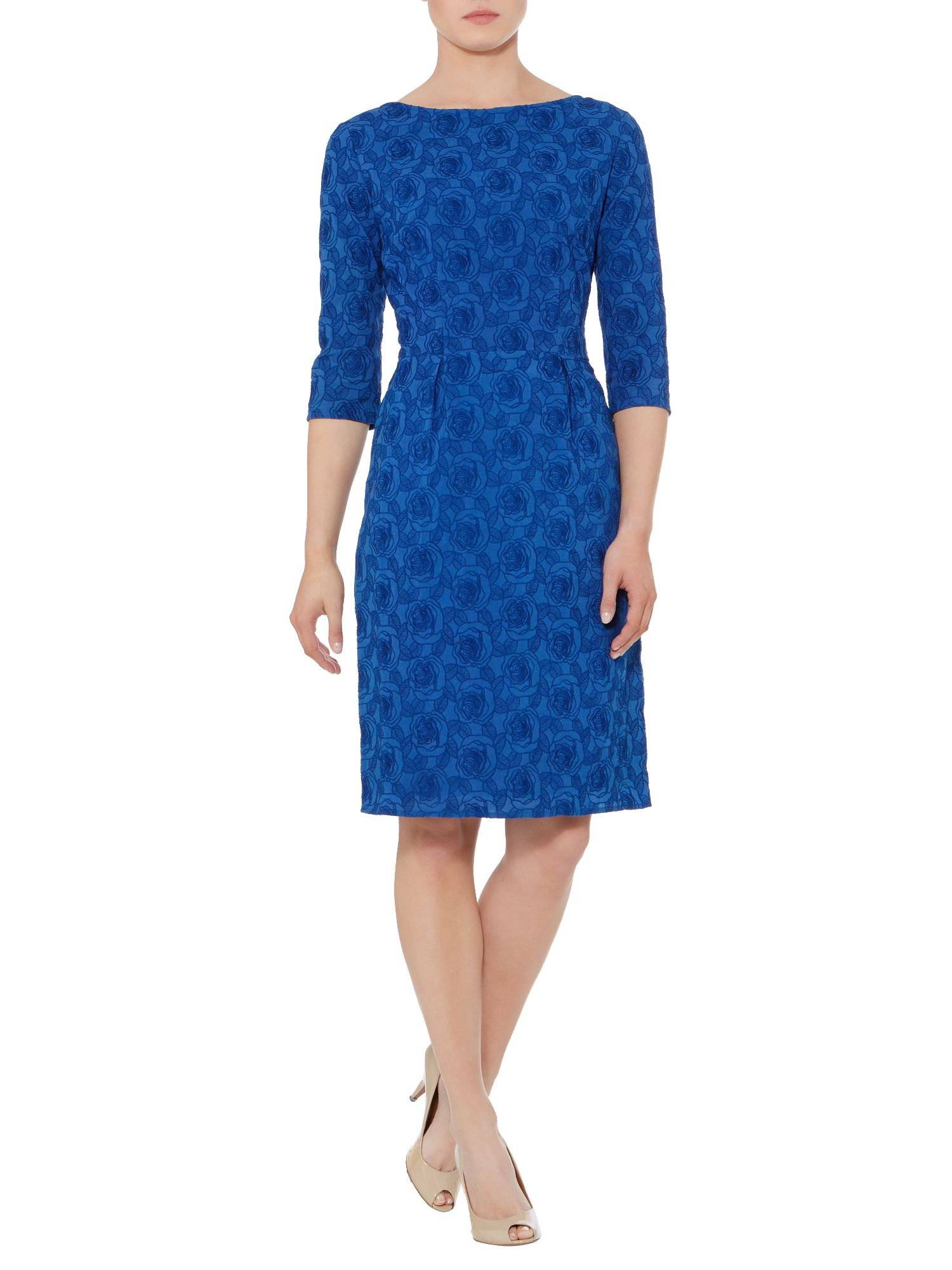 Floral Jacquard shift 3/4 sleeve dress
