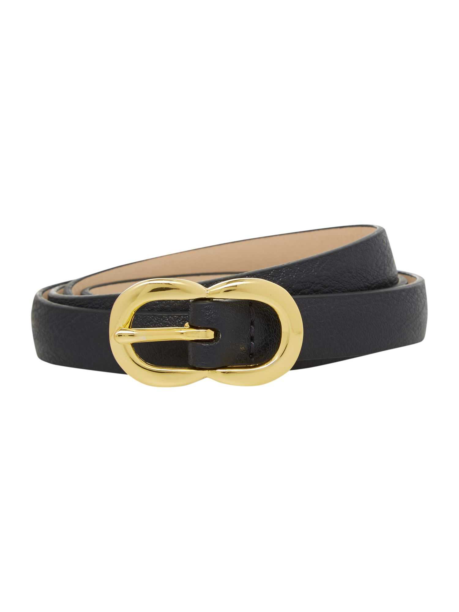 Navy double buckle leather belt