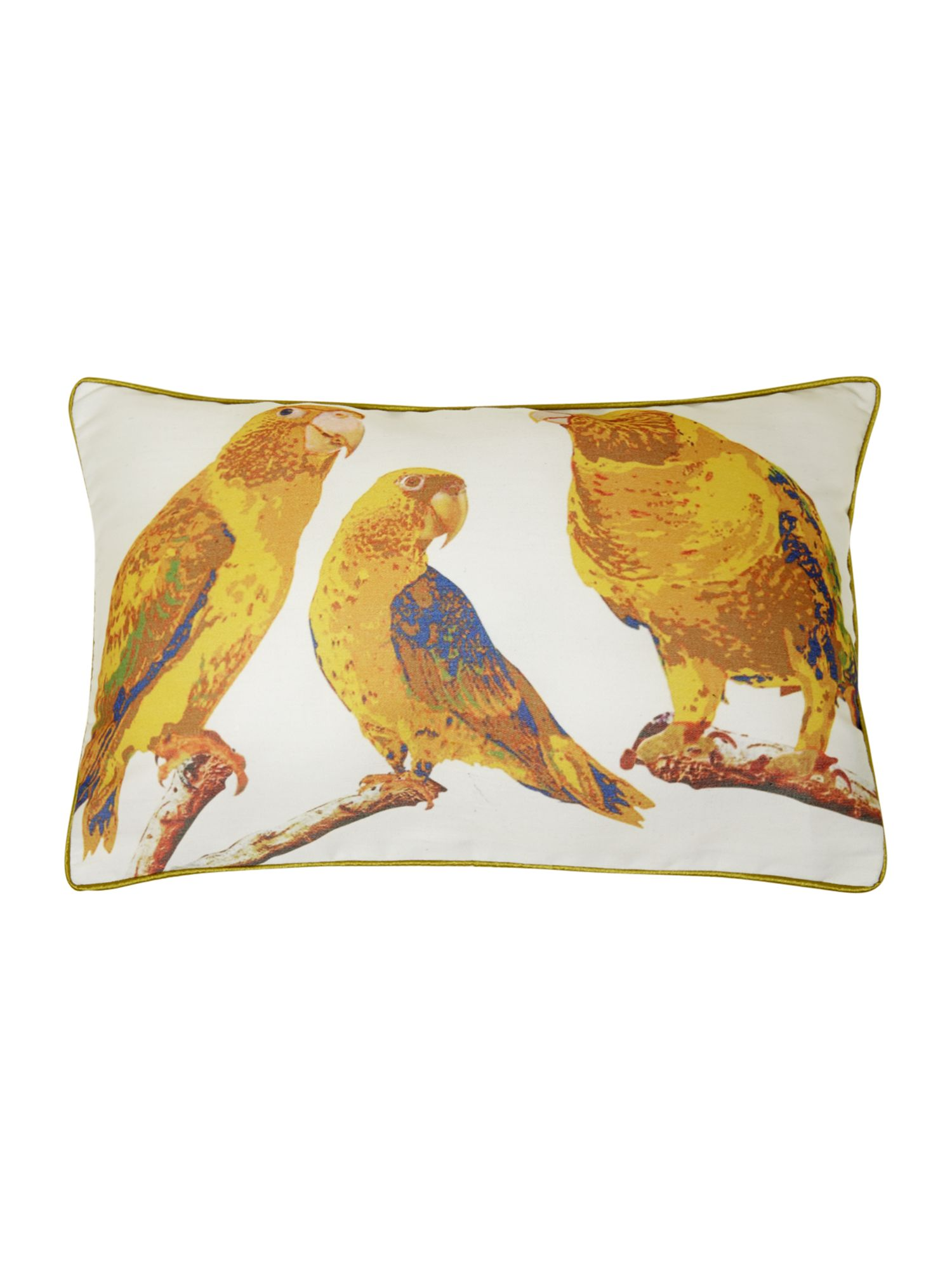 Lime parrot print cushion