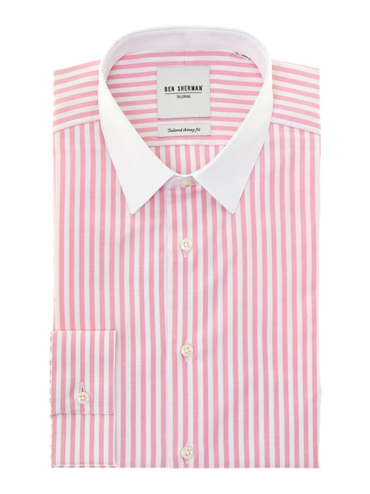 Candy stripe white collar slim fit shirt