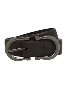 Stephen Collins Black square buckle belt