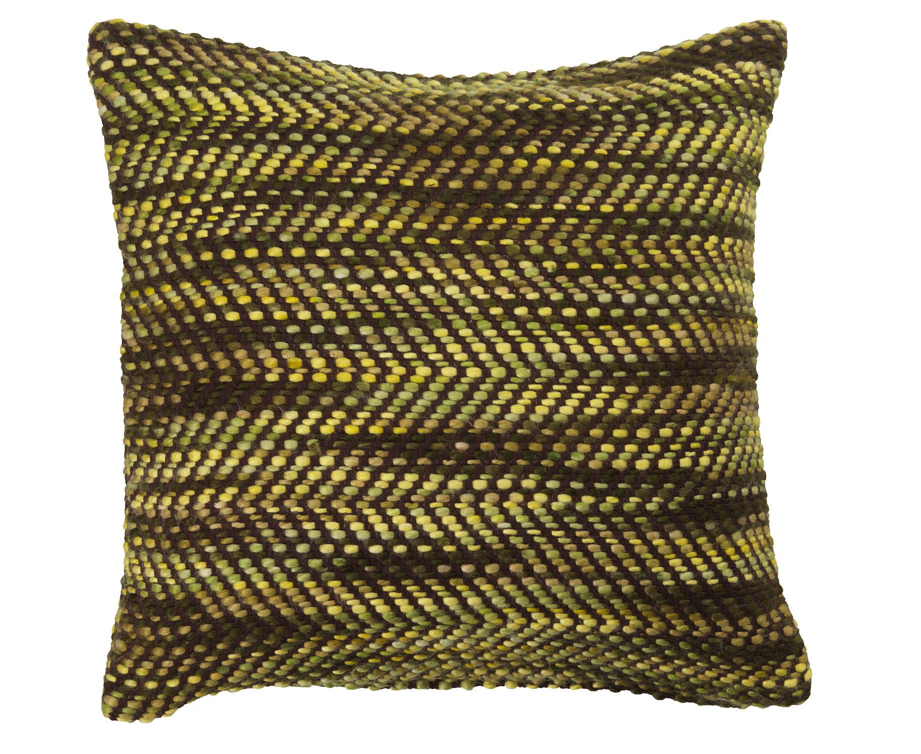 Green chevron chenille cushion