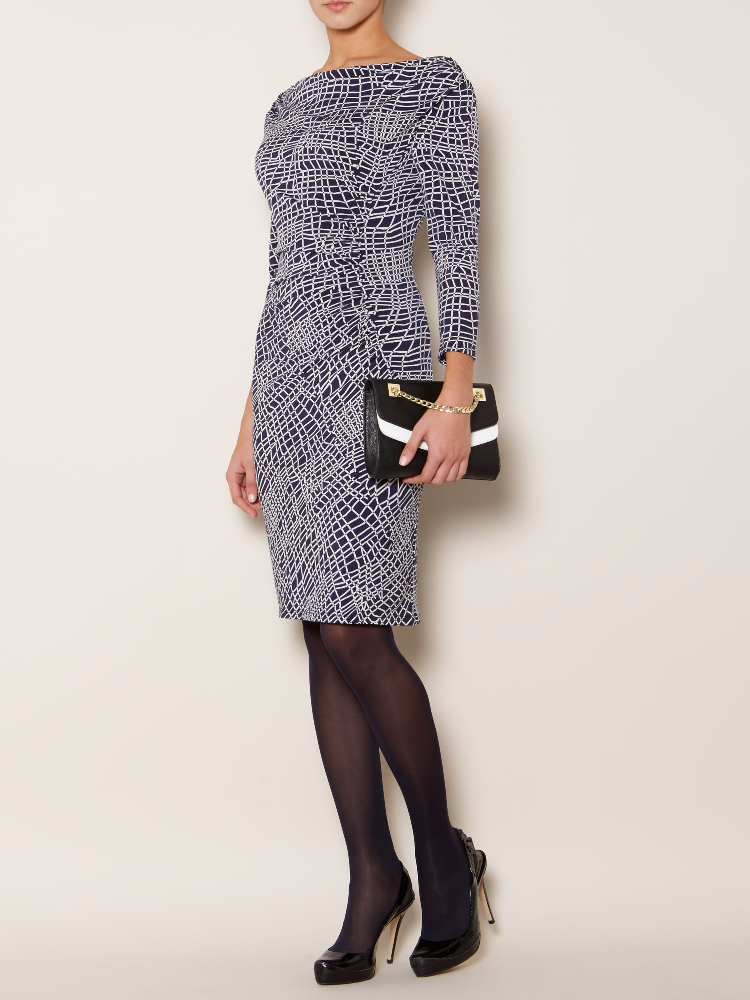 3/4 Sleeve moon ruch printed dress