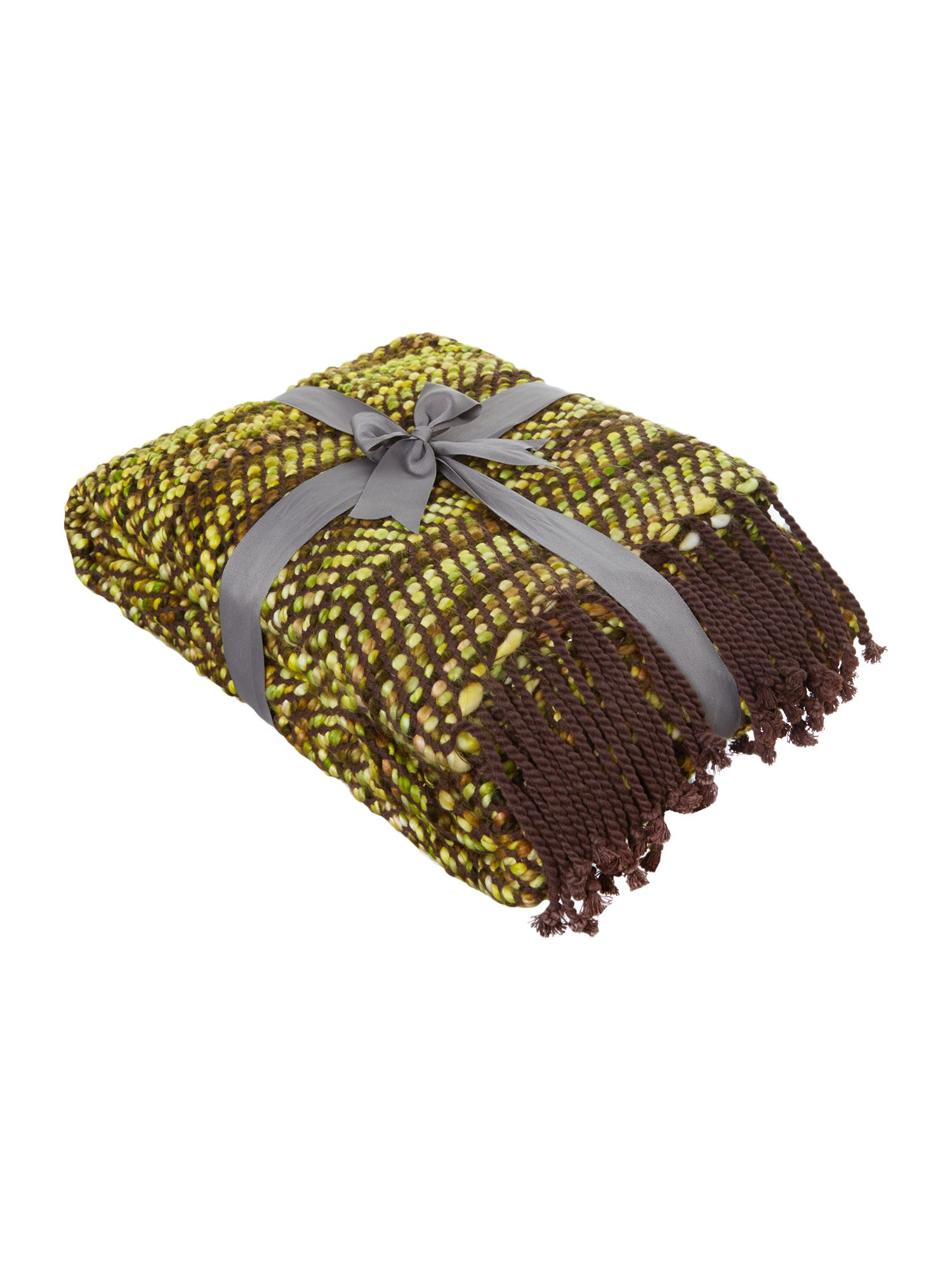 Green chevron chenille throw