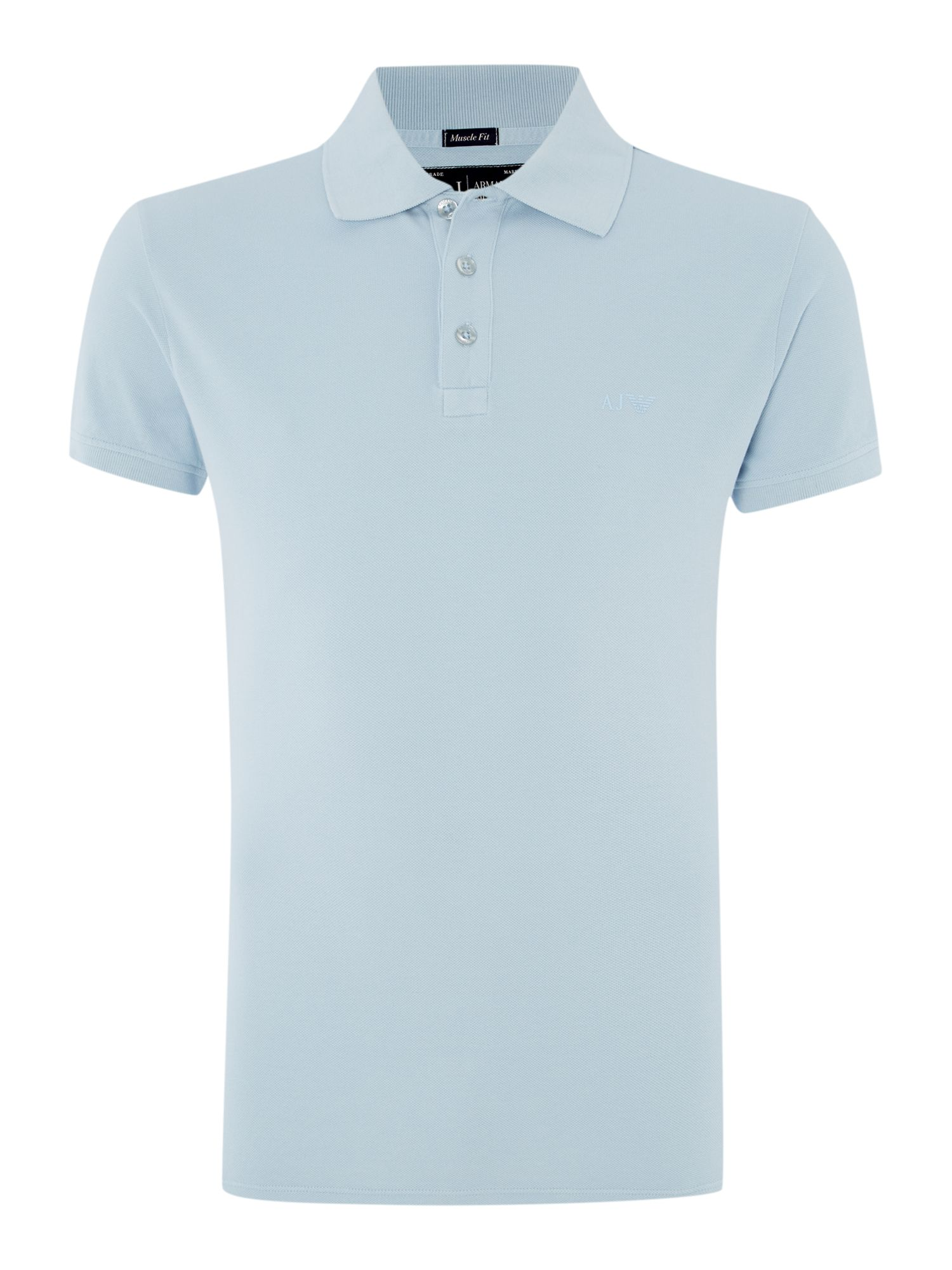 Mens Armani Jeans Muscle Fit Logo Polo Shirt Sky Blue