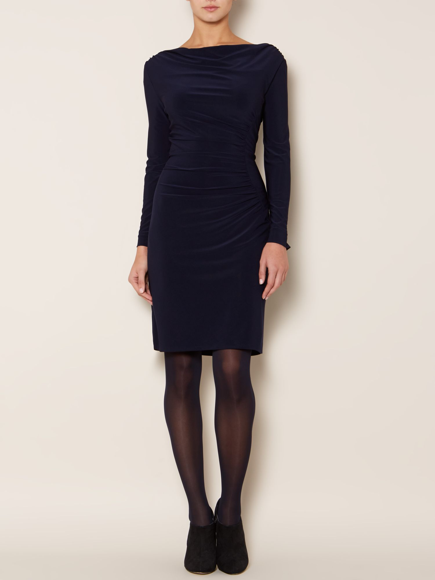 Long sleeve moon ruched dress