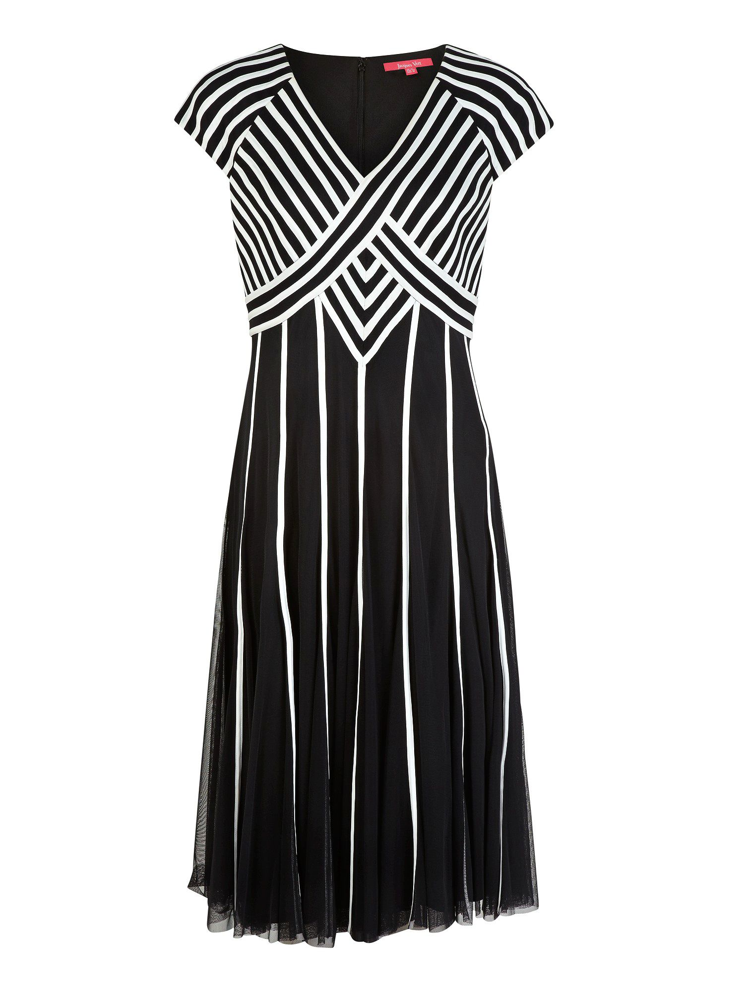 Monochrome Short Sleeve Banded Dress