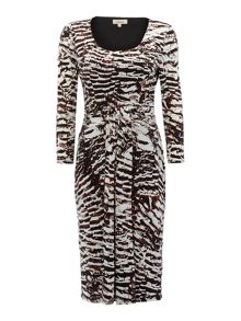 3/4 Sleeve grecian animal printed dress