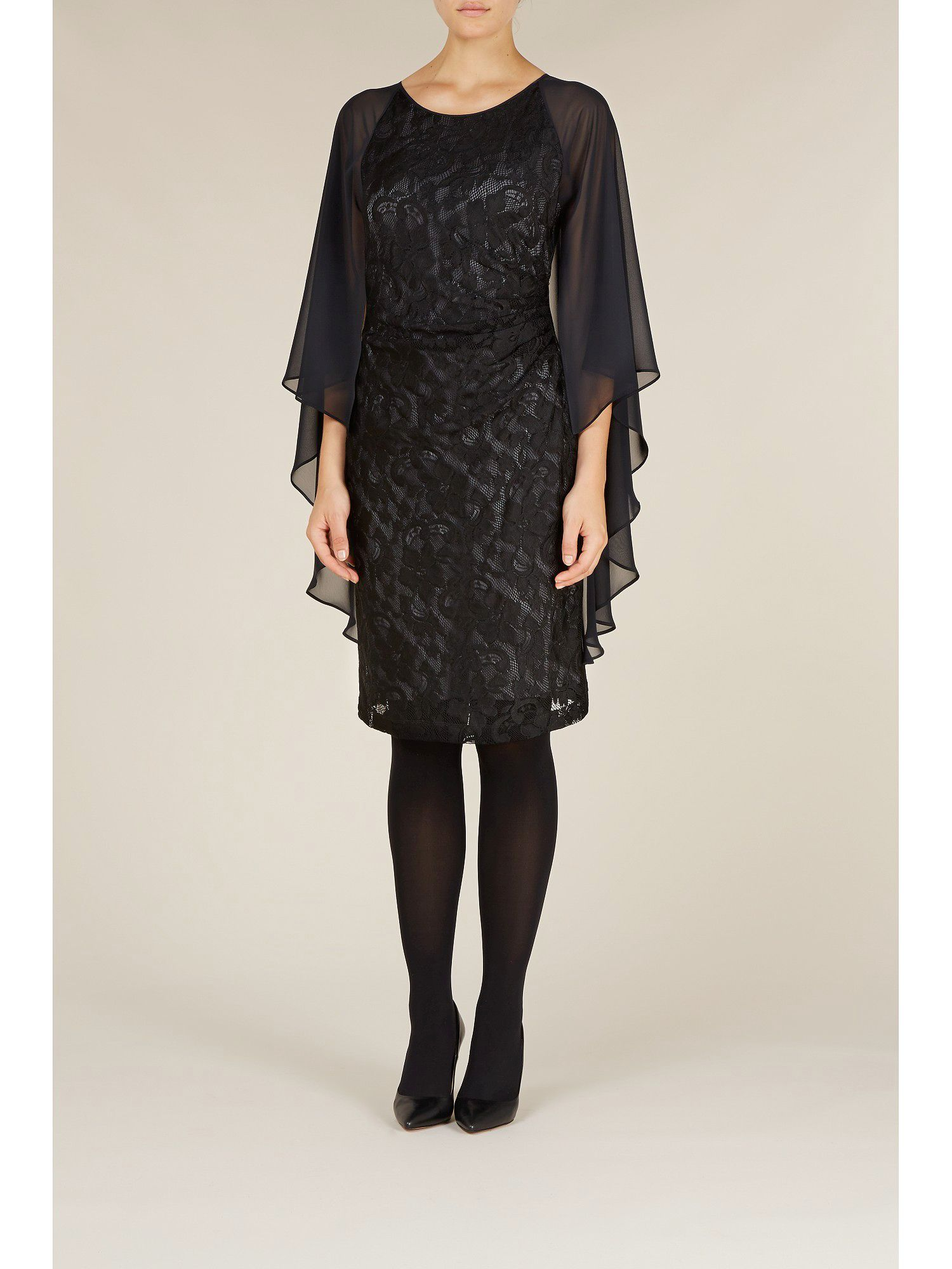 Black lace angel sleeve dress