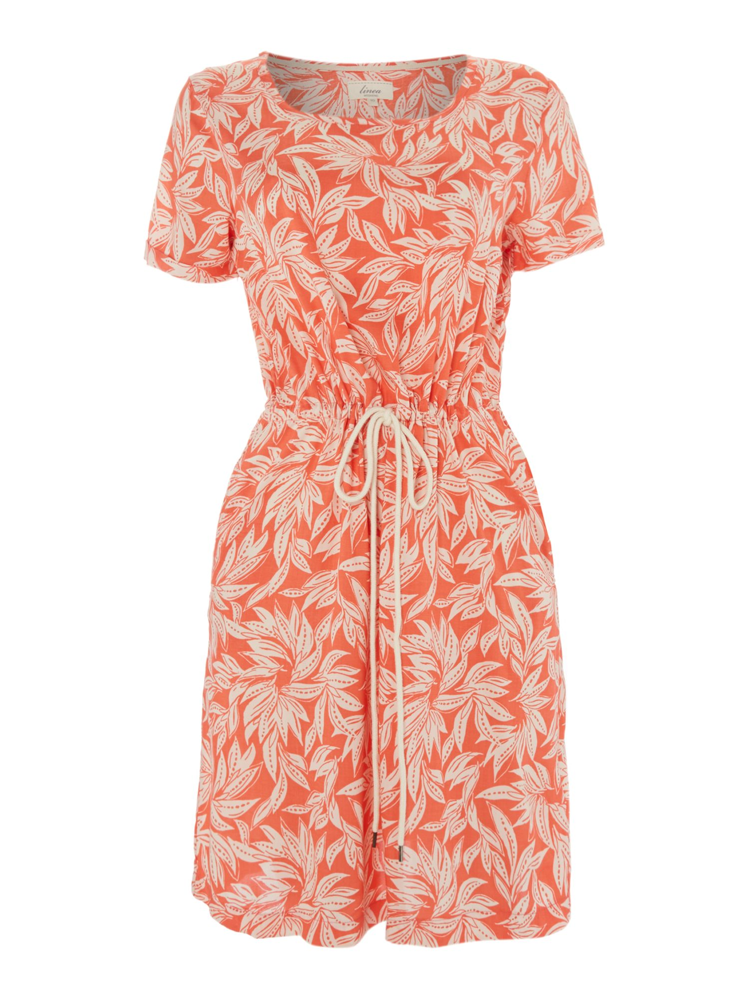 Floral print woven drawstring dress