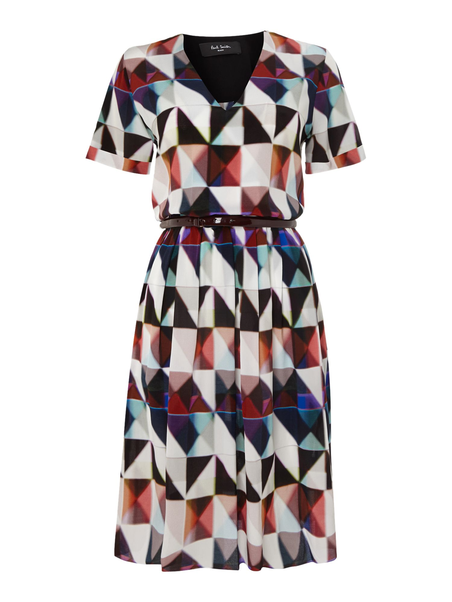 Printed silk dress with belt