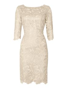 Knee Length Lace Sleeved Dress