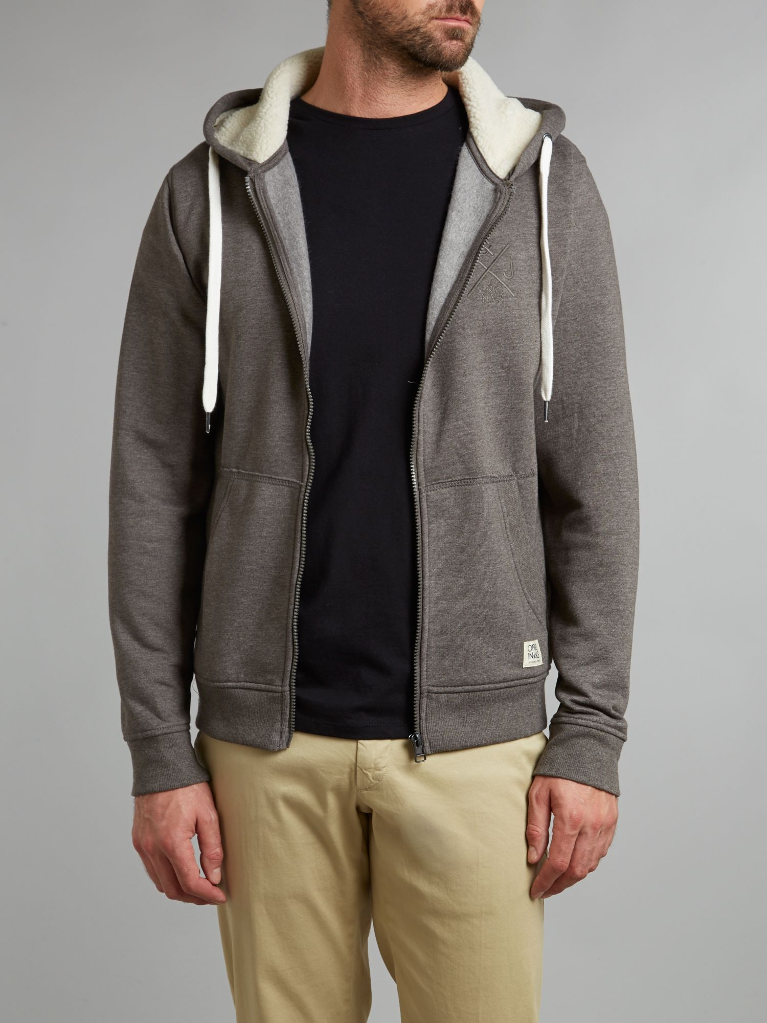 Zip through hooded sweater