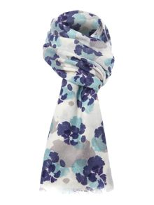 Petal hearts pansy wool scarf