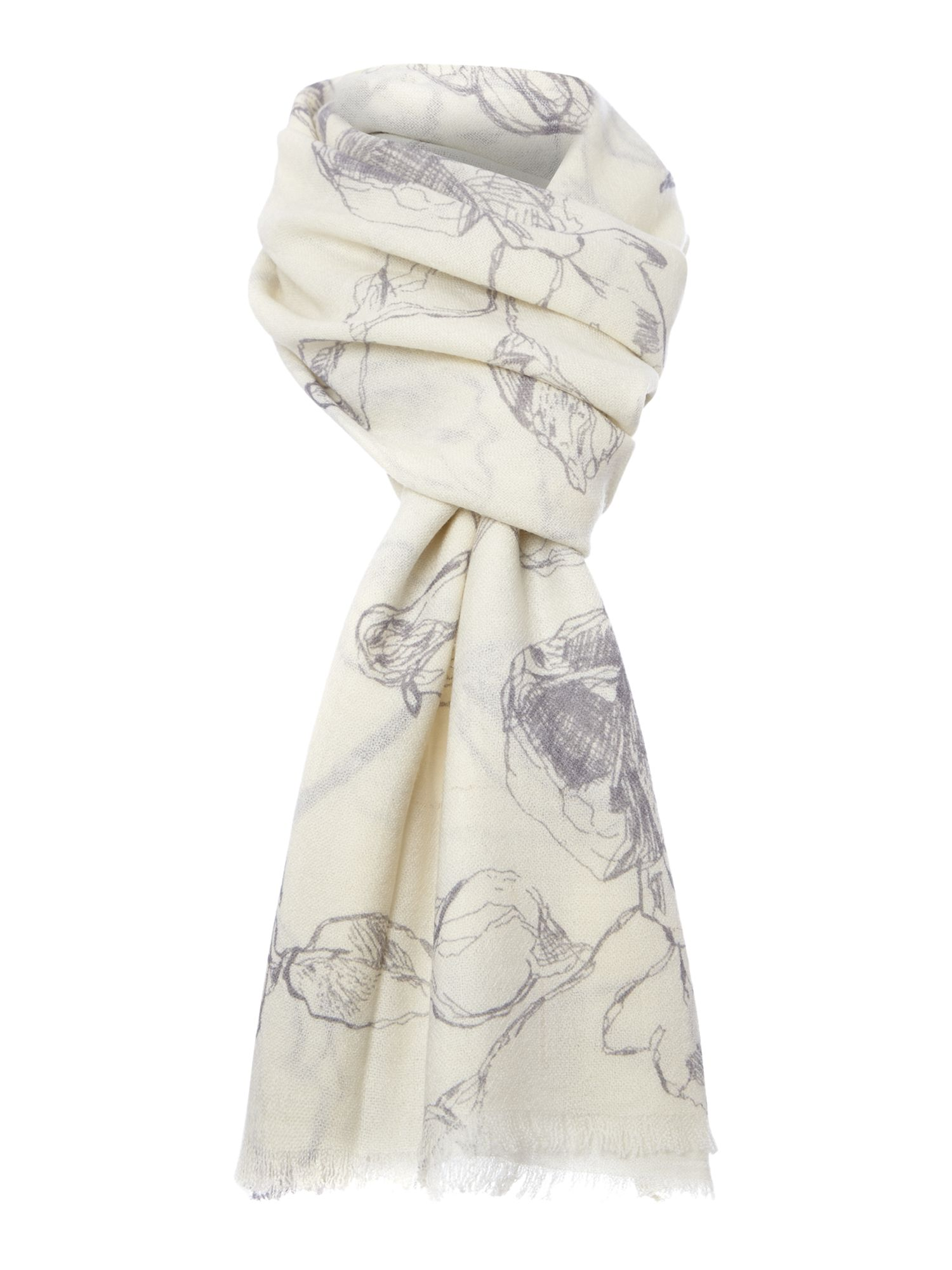 Line rose wool scarf