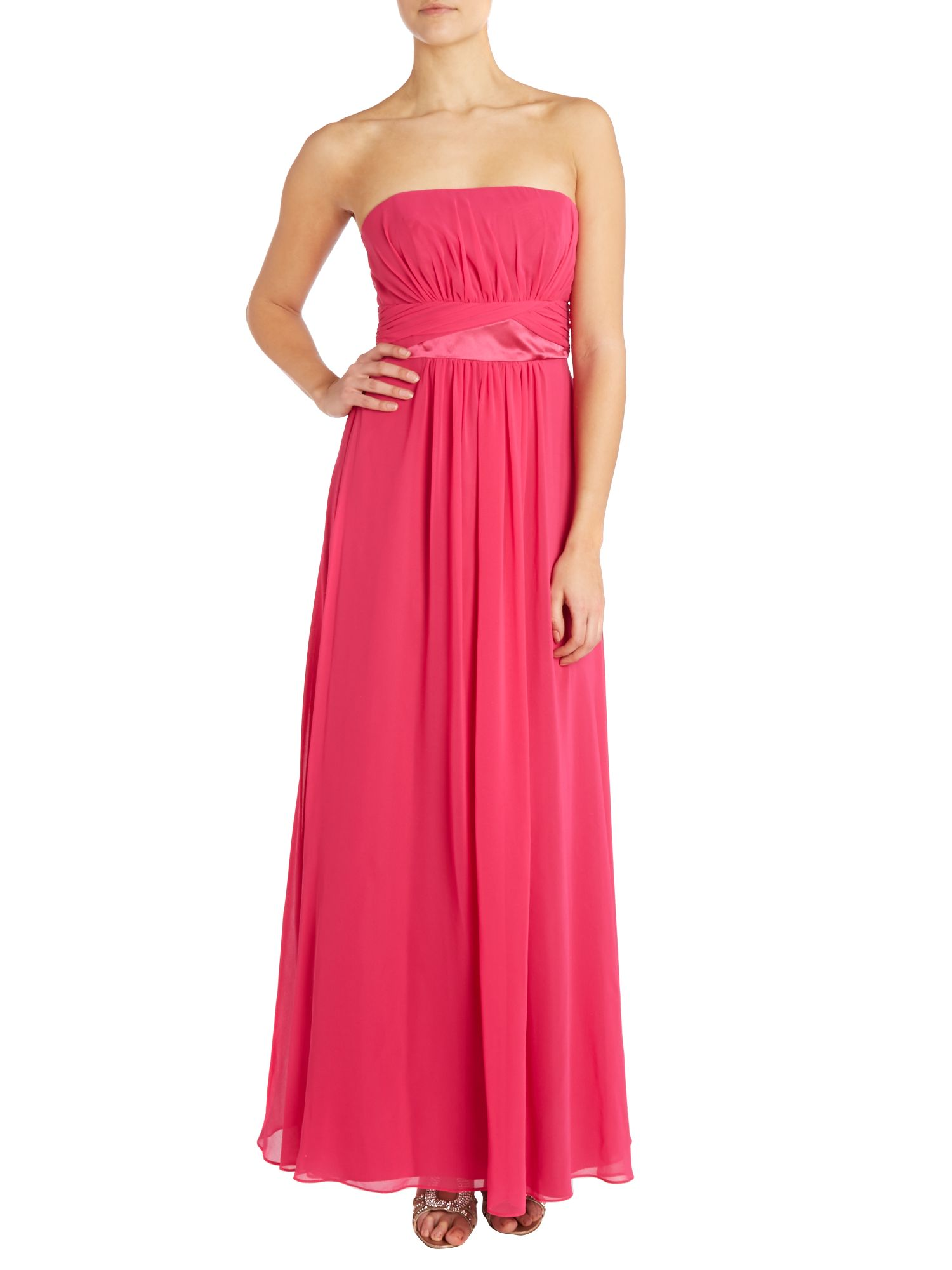 Bridesmaid strapless chiffon dress