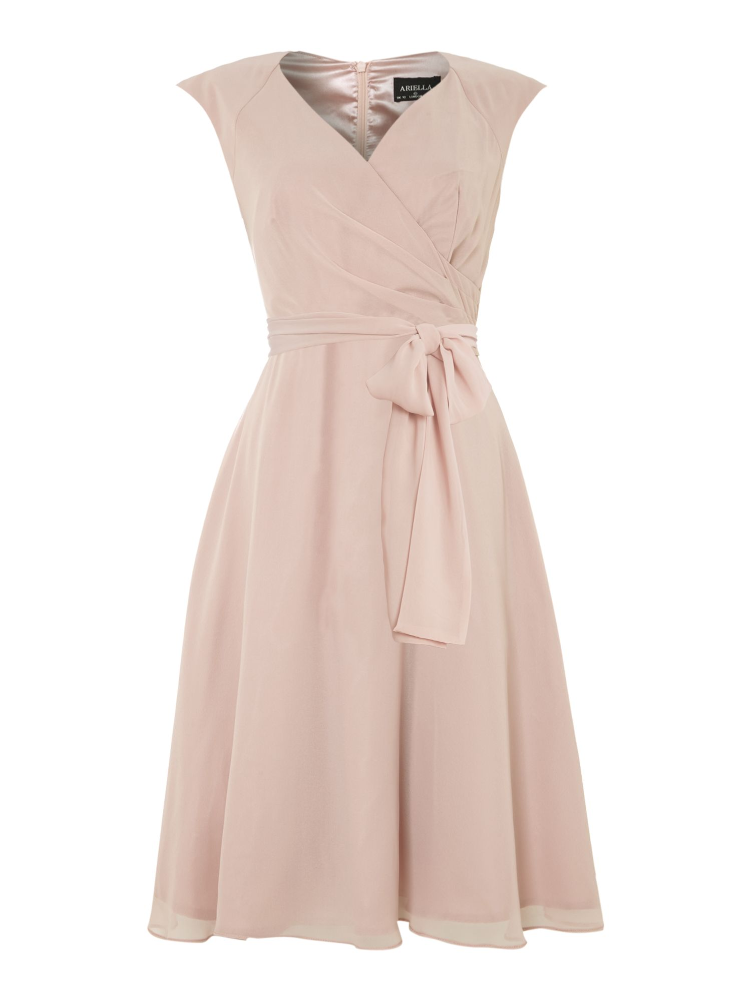 Bridesmaid cap sleeve prom dress