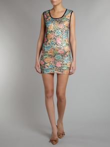 Multi floral glitter lace sleeveless bodycon dres