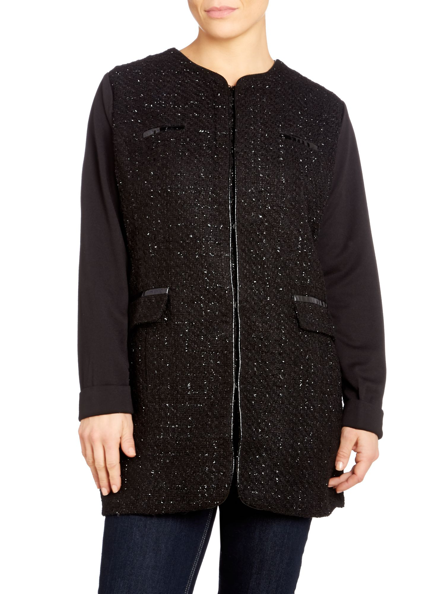 Metallic thread tweed boxy jacket
