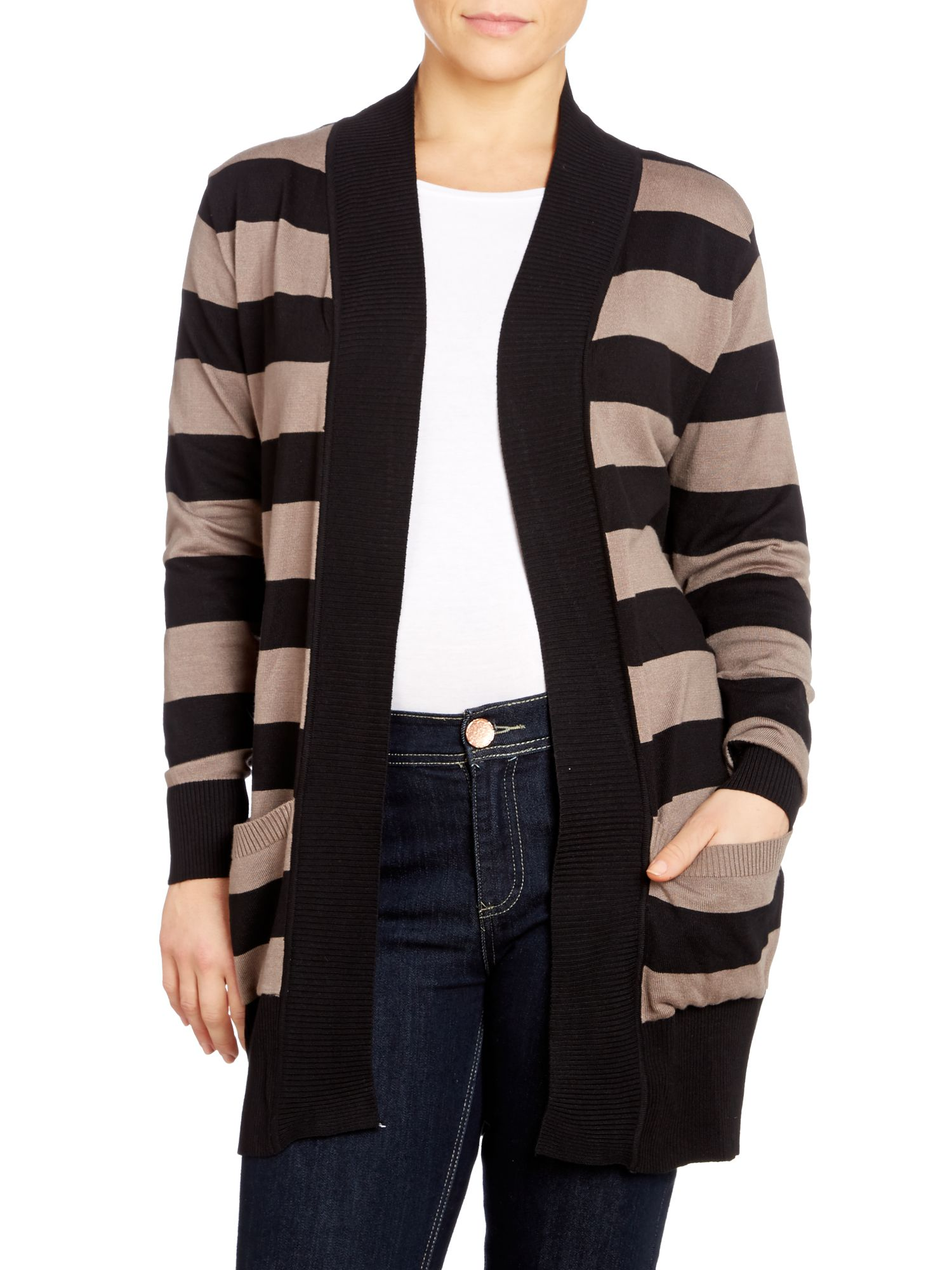 Stripe cardigan with pockets