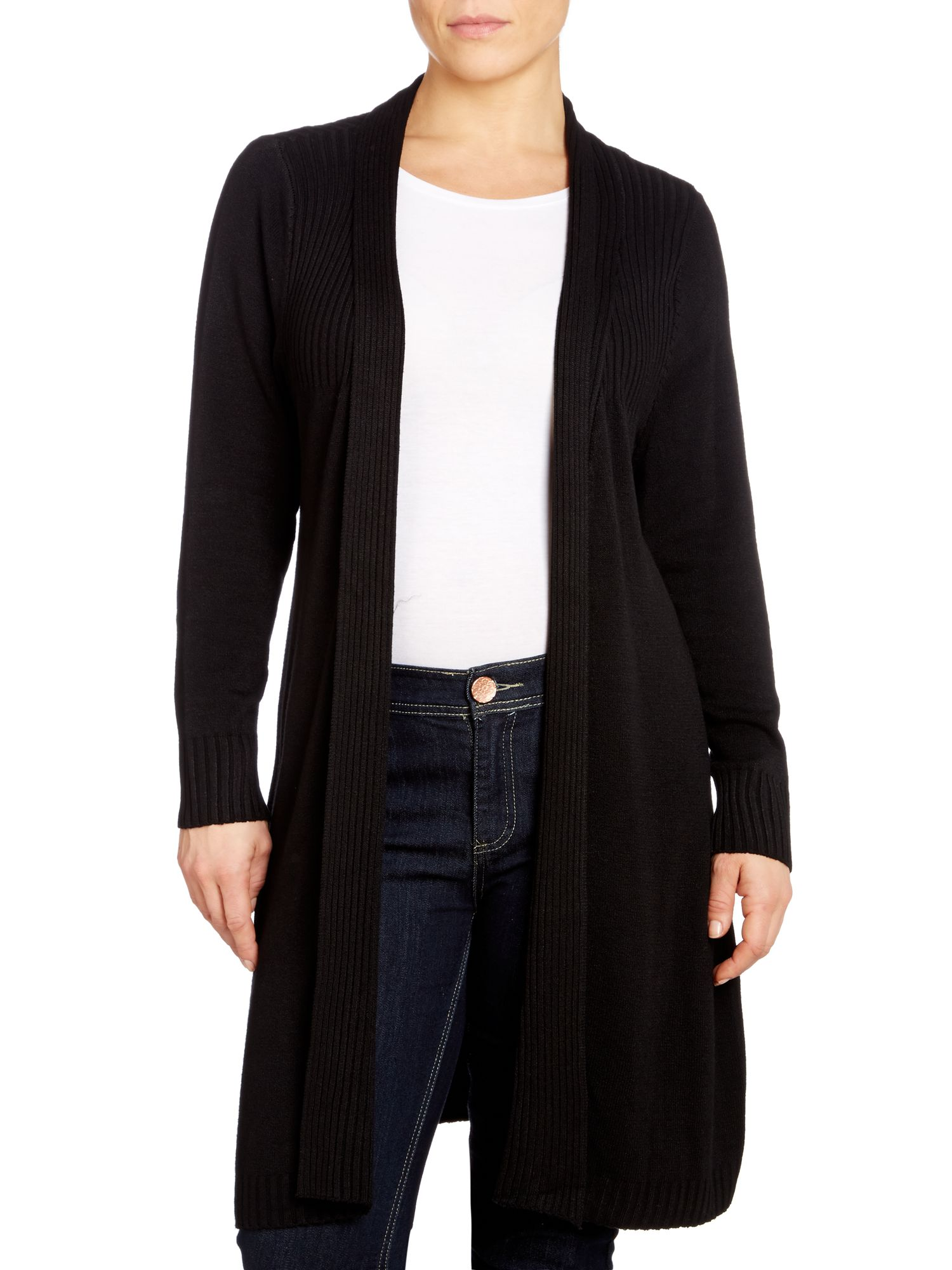 Rib knit long cardigan