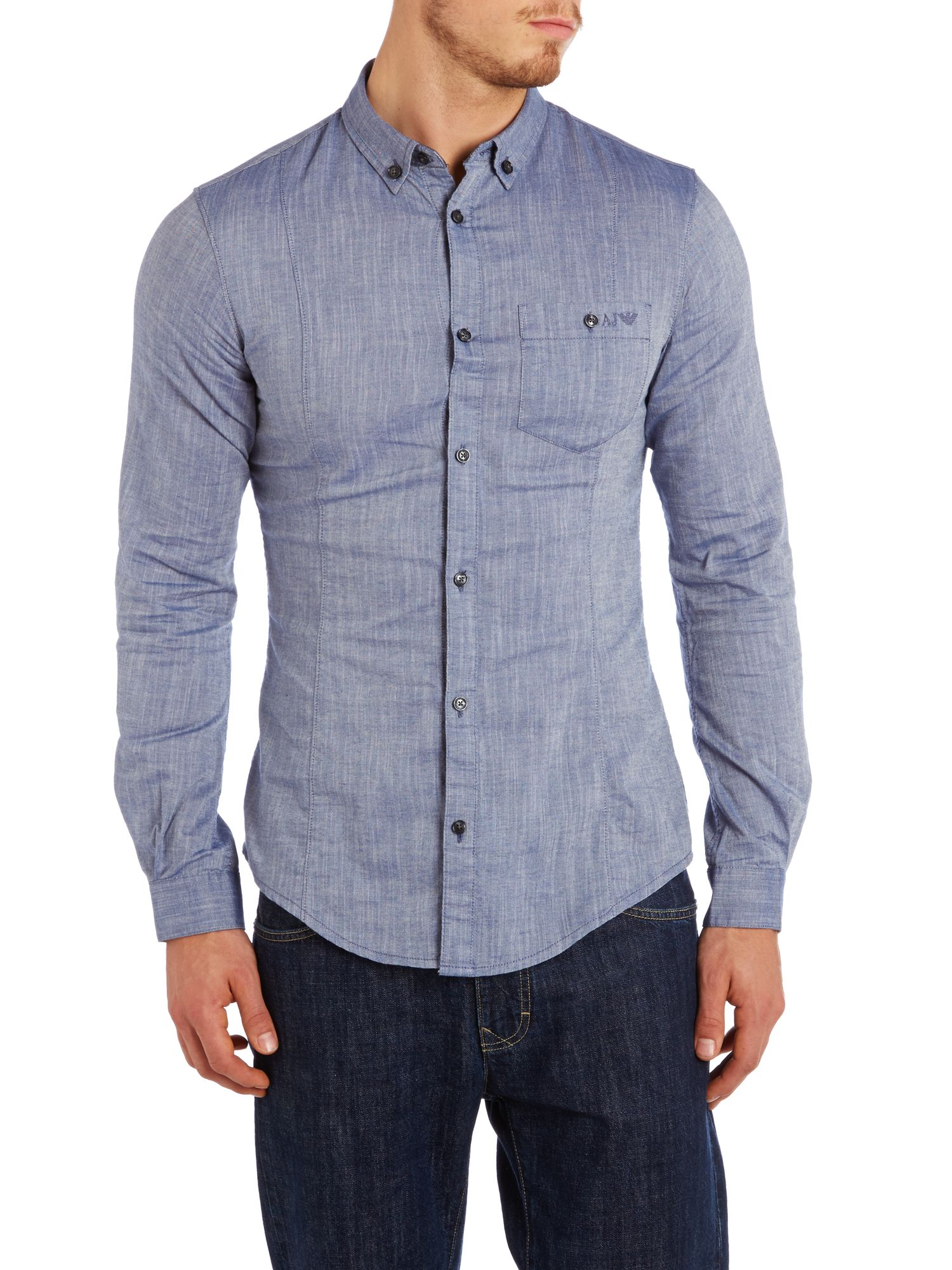 Logo pocket chambray shirt