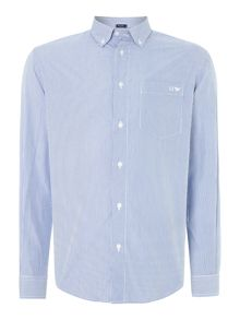 Gingham long sleeved logo shirt